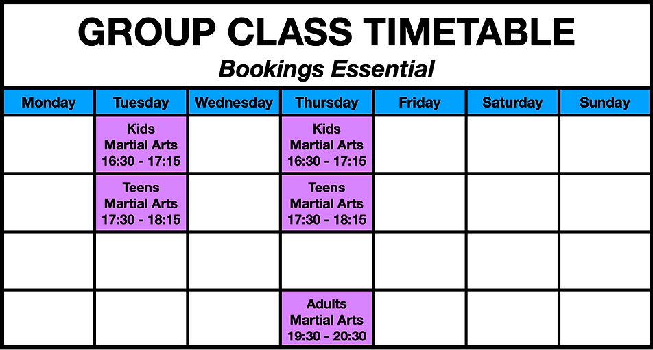 RAW Life Martial Arts TimeTable.png