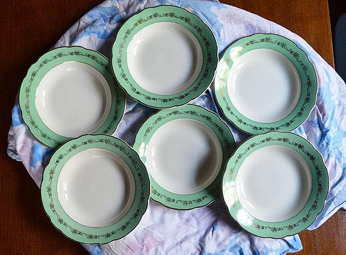 Série de 6 assiettes Mint et Doré