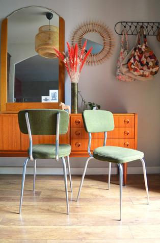 Paire de chaises en tweed Olive