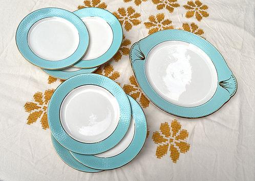 Ensemble à dessert bleu