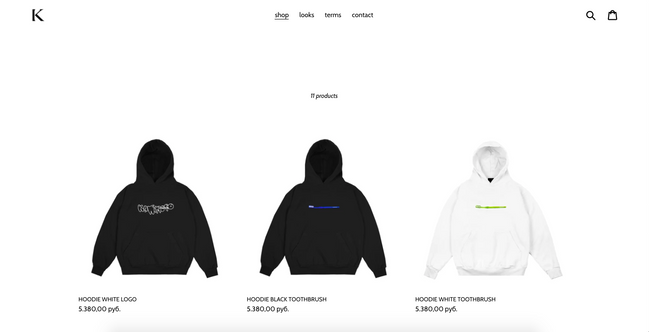 Minimalistic Shopify store for streetwear brand.