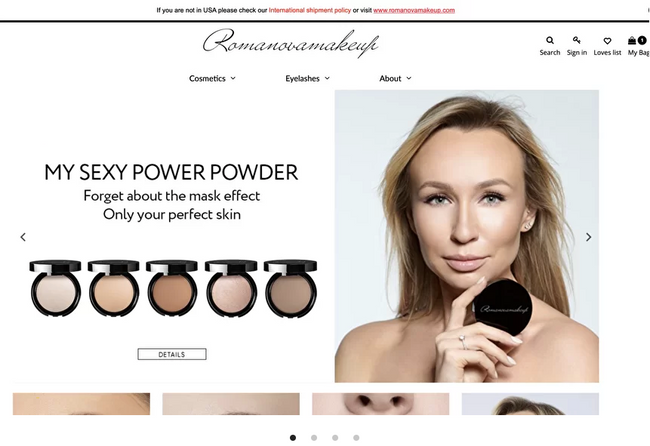 Shopify store for famous beauty brand