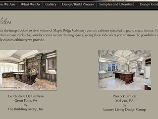 Videos allow you to view cabinetry as you are guided through grand estate homes!