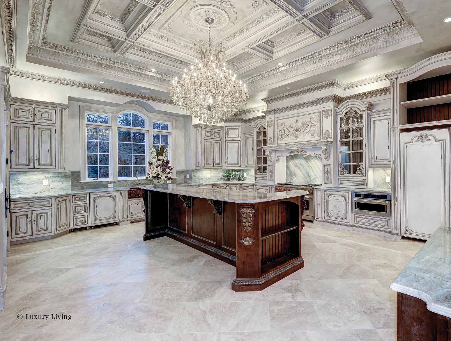 Grand Kitchen With Custom Art On Hood