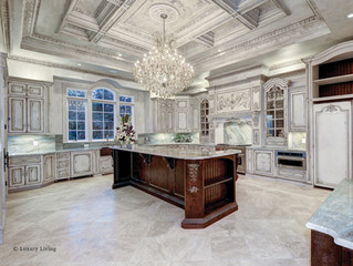 Grand Kitchen with Custom Art on Hood