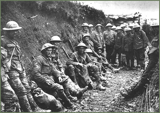 This image is claimed as fair dealing under Australian copyright law. Trench warfare in World War 1. We see here men resting before they are ordered into a living hell that is an unwinnable war.