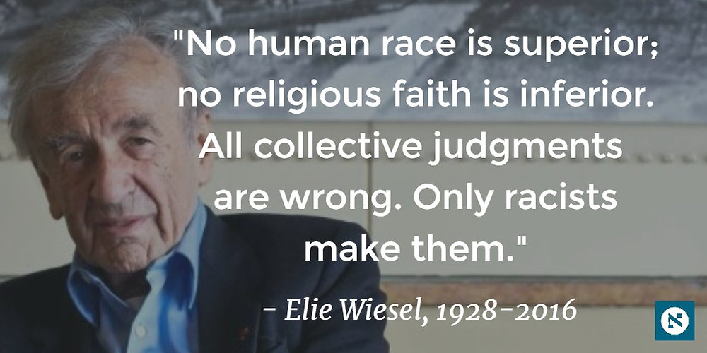 (The above image is claimed as Fair Dealing under Australian copyright law. Elie Wiesel with quote.)
