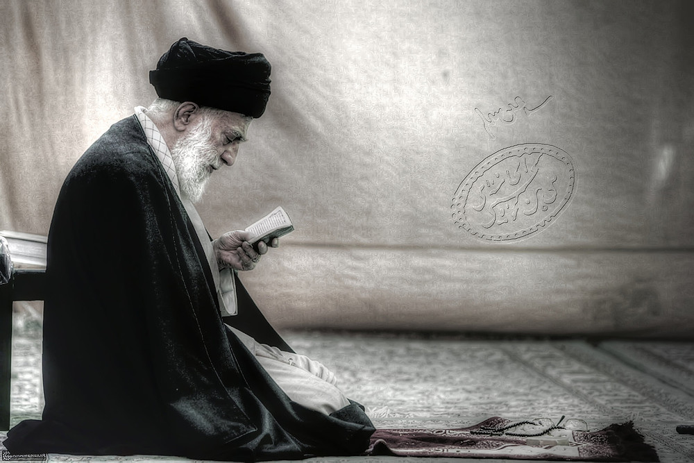 This image is claimed as fair dealing under Australian copyright law. All rights belong to karentolo, an online artist I came across while searching for an image of the spiritual leader of Iran. I just really like this particular image because it conveys what I say here well. A man respected for his wisdom, humility, knowledge and spirituality. A side of him we hear nothing of in western commentary. Anyway, the image is great and I thank the artist for sharing it.