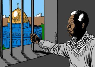 This image is claimed as fair dealing under Australian copyright law. It is relevant to the piece and I liked it as soon as I saw it. This ban is a form of apartheid, there is no denying it. I also respect Nelson Mandela for the hardship he endured and the cause he symbolises.