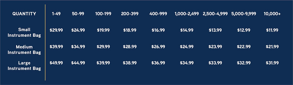 United Sound Instrument Bag Pricing Matr