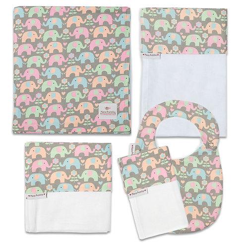 Kit Elefantinhos Coloridos com 5 peças