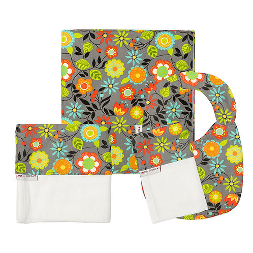 Kit Cinza com Flores Coloridas com 4 Peça