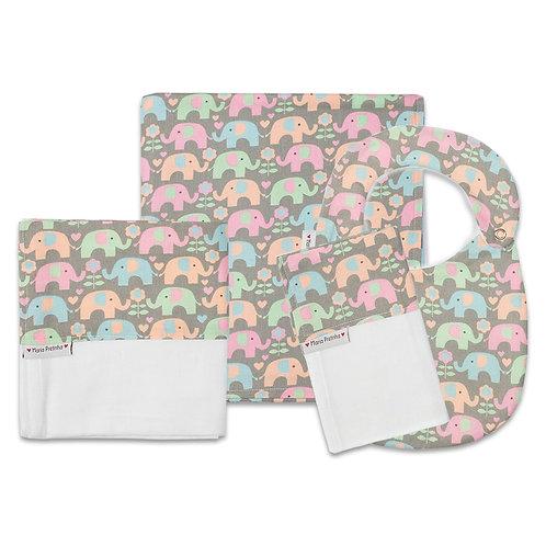 Kit Elefantinhos Coloridos com 4 peças