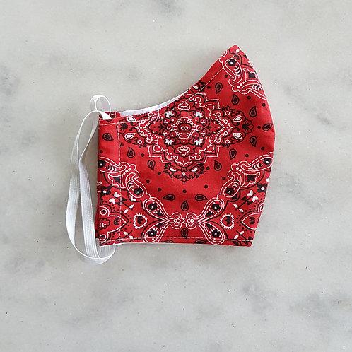 Máscara em Tecido - Bandana Vermelha