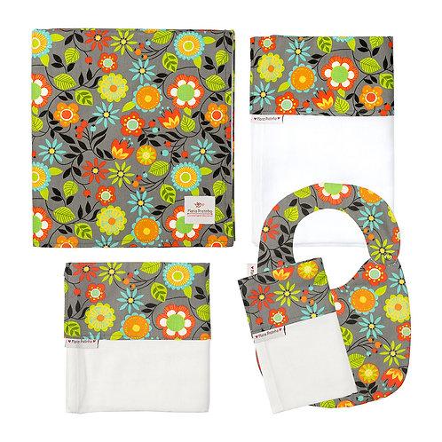 Kit Cinza com Flores Coloridas com 5 Peça
