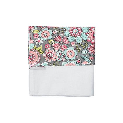 Fralda de Ombro Cinza com Floral