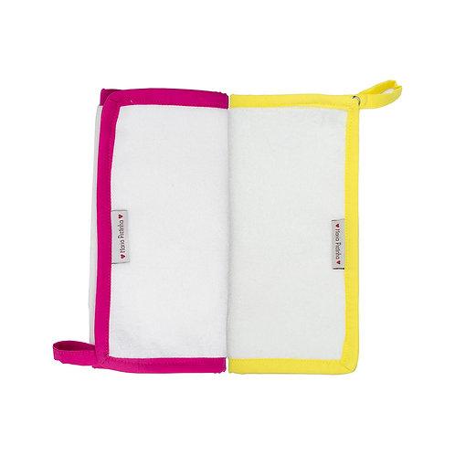 Kit com 2 paninhos de Boca Atoalhados - Rosa Escuro e Amarelo