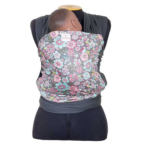 Wrap Sling Cinza Chumbo com Frente Floral