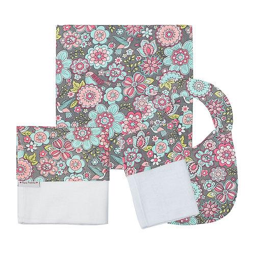 Kit Cinza com Floral com 4 Peças