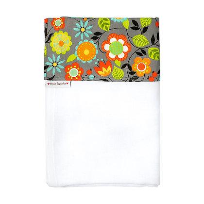 Toalha Fralda com Barra Cinza com Flores Coloridas