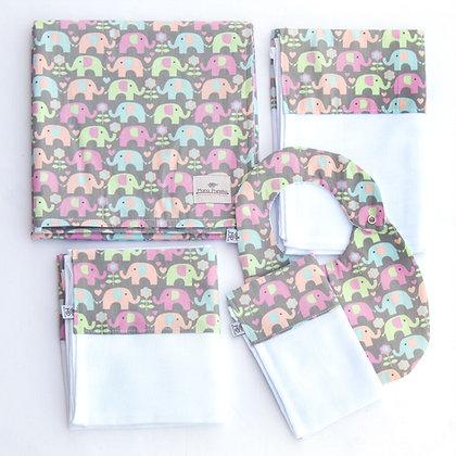 Kit Elefantes Coloridos com 5 peças