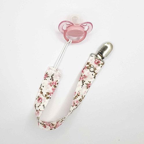 Pendurador de Chupeta Floral Rosa