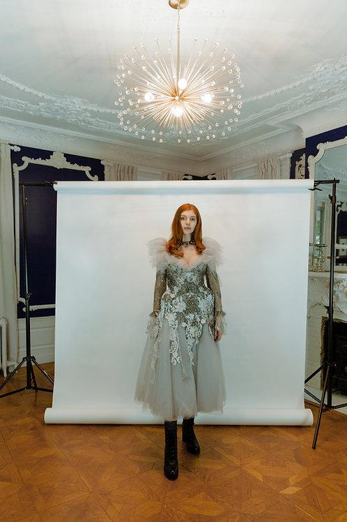 Silver beaded Bridal dress