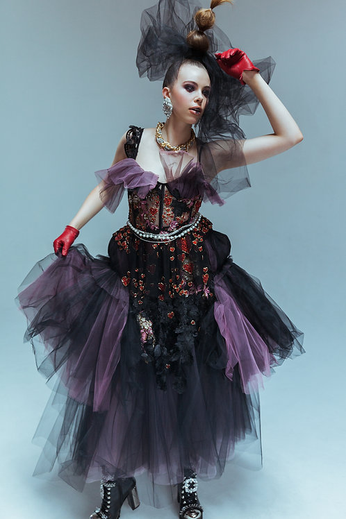 Hand beaded hearts dress