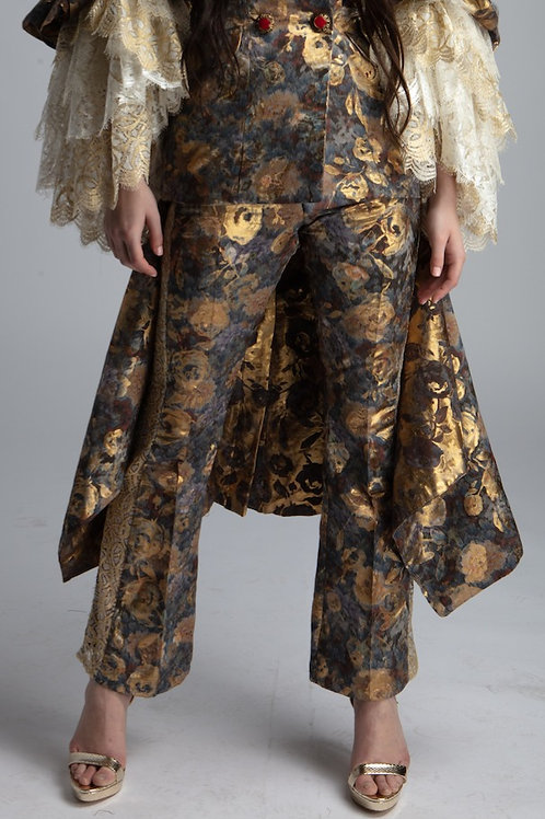Floral gold trousers