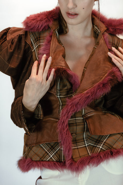 Tailored plaid fur jacket