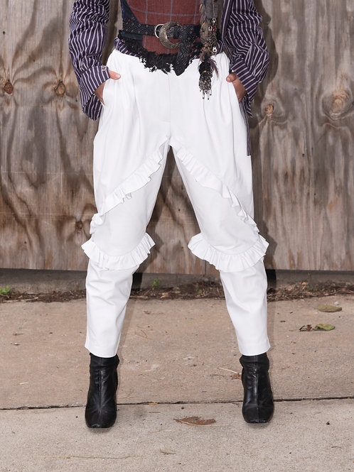 White leather trousers