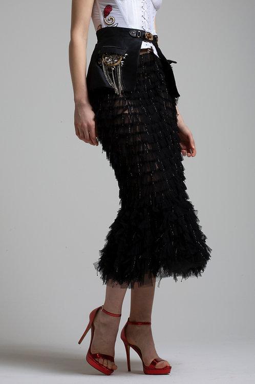 Beades ruffled skirt