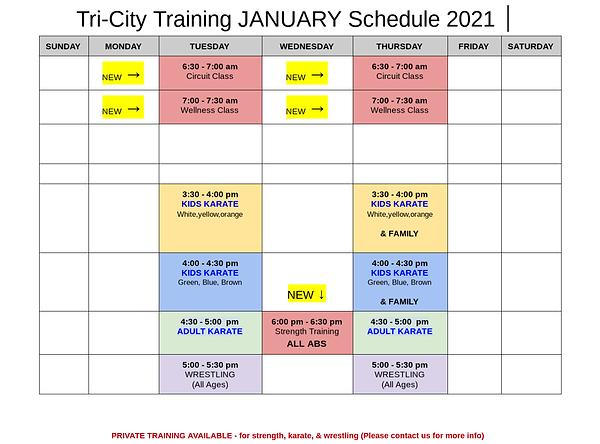 Tri-City Training January 2021 Schedule