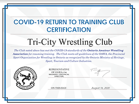 OAWA Wrestling Credentials and certificate for training