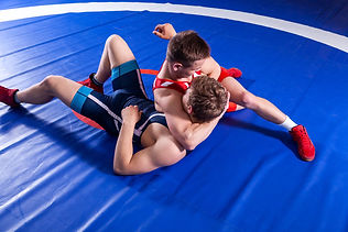 Two young man  wrestlers in red and blue