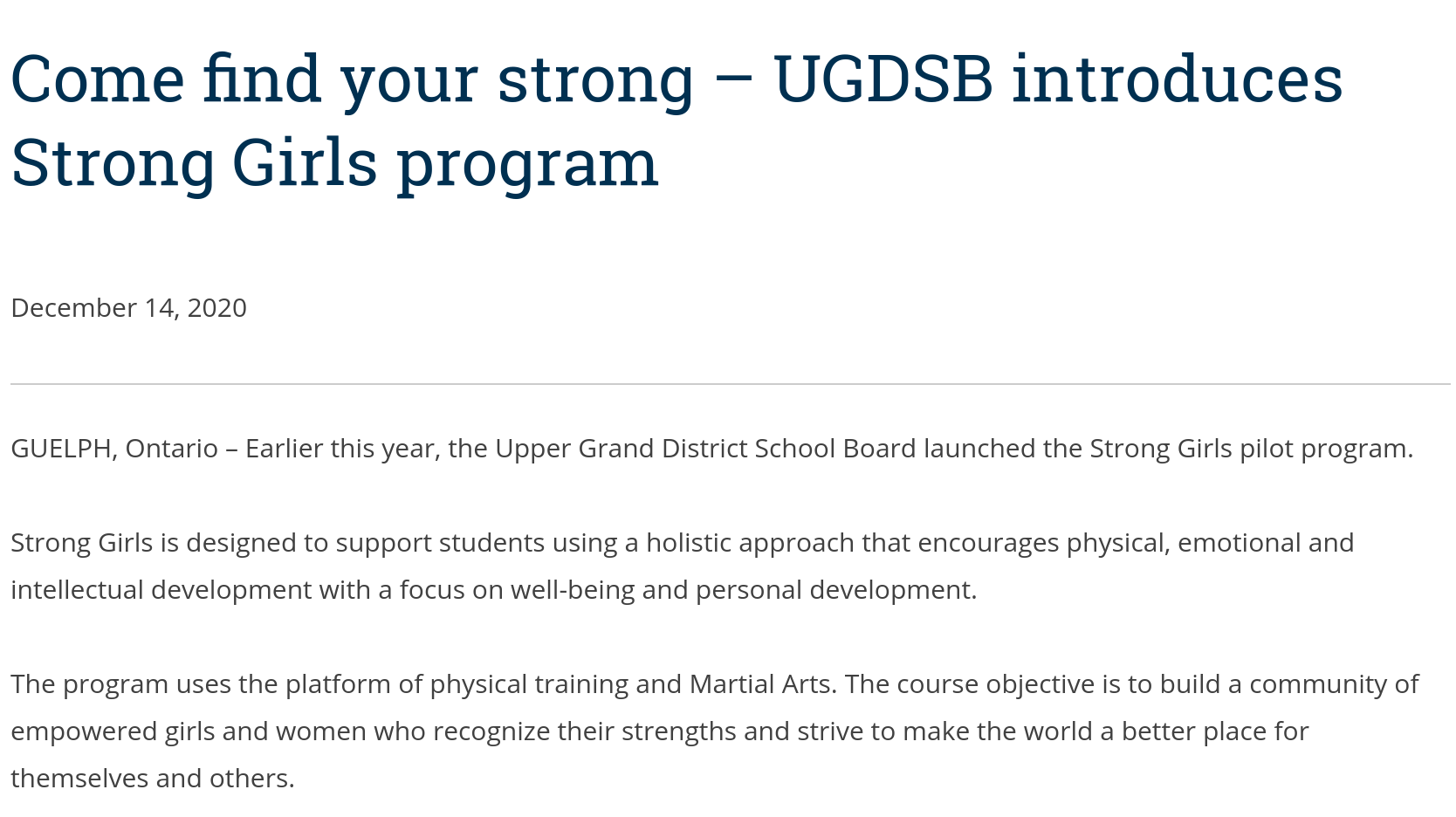 "Come Find Your Strong ""Strong Girls"" Program Launched UGDSB"