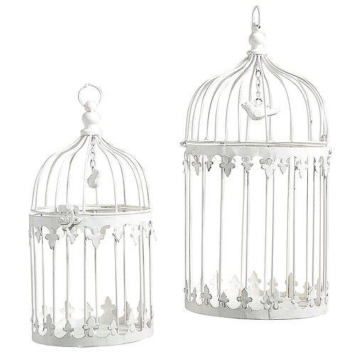lot de cages à oiseaux blanc