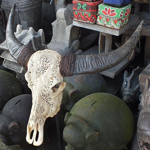 Tête de buffle sculptée 1 mètre
