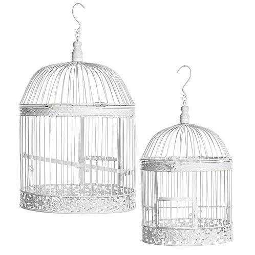 Cages à oiseaux blanches