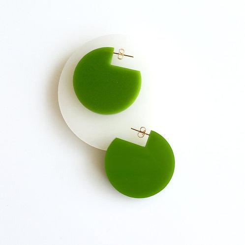Cir Cutout Earrings Green