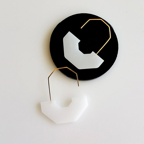 Hex Arch Earrings White
