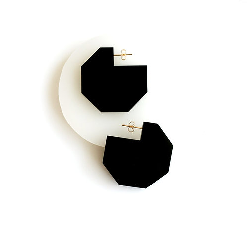 Hex Cutout Earrings Black