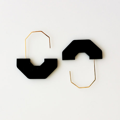 Hex Arch Earrings Black