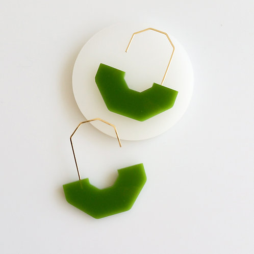 Hex Arch Earrings Green