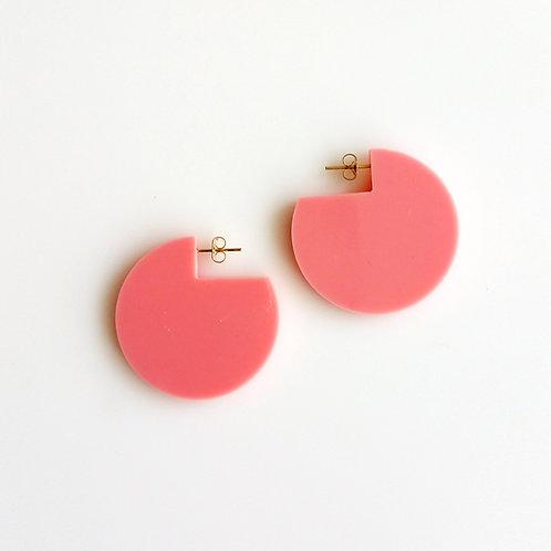 Cir Cutout Earrings Pink