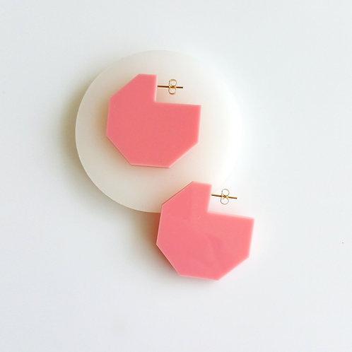 Hex Cutout Earrings Pink
