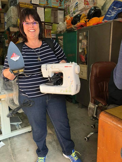 Cloie w/ new sewing machine purchase