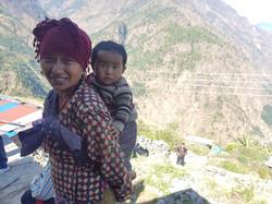 mountain woman & child