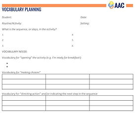 image of vocaulary planning template