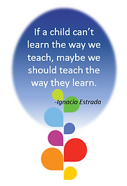 image of quote: If a chid can't learn the ay we tech, maybe we shoud teach the way they learn. -Estrada